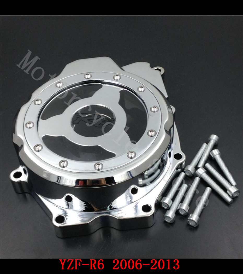 Fit for Yamaha YZF R6 YZFR6 2006 2007 2008 2009 2010 2011 2012 2013 Motorcycle Engine Stator cover see through Chrome left side motorcycle radiator protective cover grill guard grille protector for yamaha yzf r6 2006 2007 2008 2009 2010 2011 2012 2013 2016