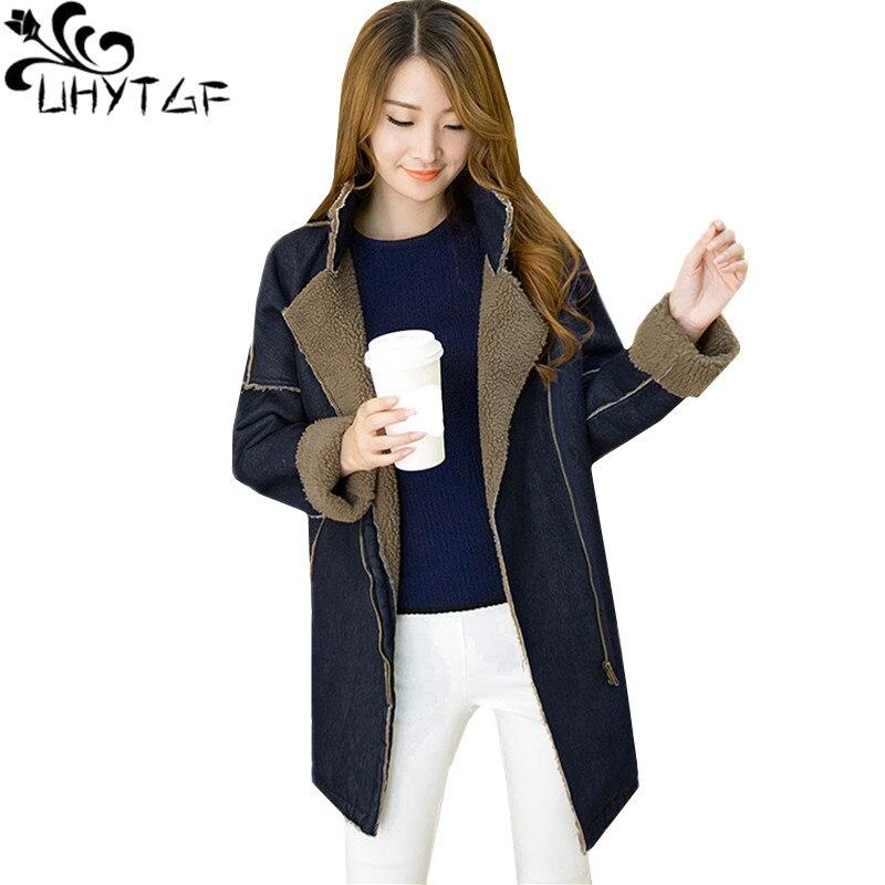 Chaqueta de mezclilla de mujer UHYTGF abrigo nuevo de invierno de lana de cordero abrigos de algodón de abrigo de mujer chaqueta de talla grande ropa de abrigo Casual 969-in chaquetas básicas from Ropa de mujer    1