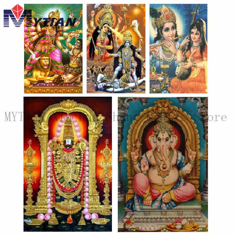 Mytian 5D DIY Diamond Lukisan Hindu Ganesh Durga Diamond Bordir Menjahit Mosaik Kerajinan Lukisan Kit Dekorasi Rumah