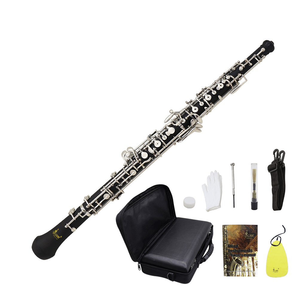 Professional Oboe C Key Cupronickel Plated Silver Woodwind Musical Instrument for Beginner with Reed Gloves