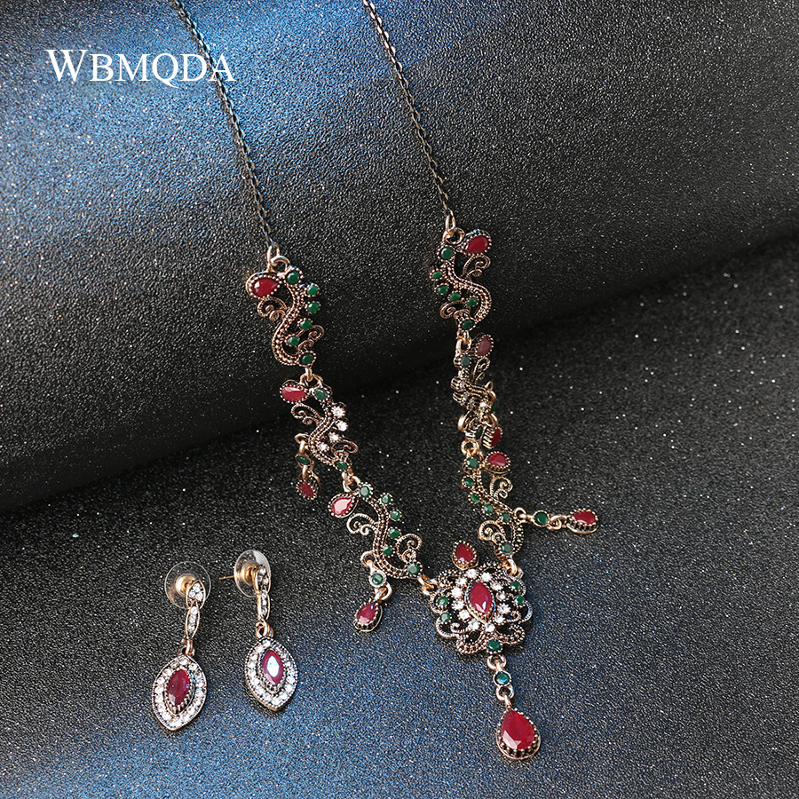 HTB1dhWJbborBKNjSZFjq6A SpXah - 4Pcs/lot Boho Turkish Jewelry Sets Vintage Red Necklace Bracelet Earrings Ring Set Indian Crystal Antique Gold Wedding Jewellery