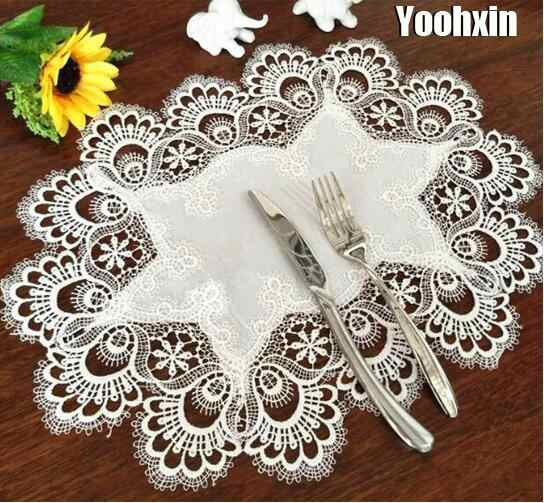 Hot Oval Lace Table Place Mat Cloth Embroidery Tea Placemat Pad