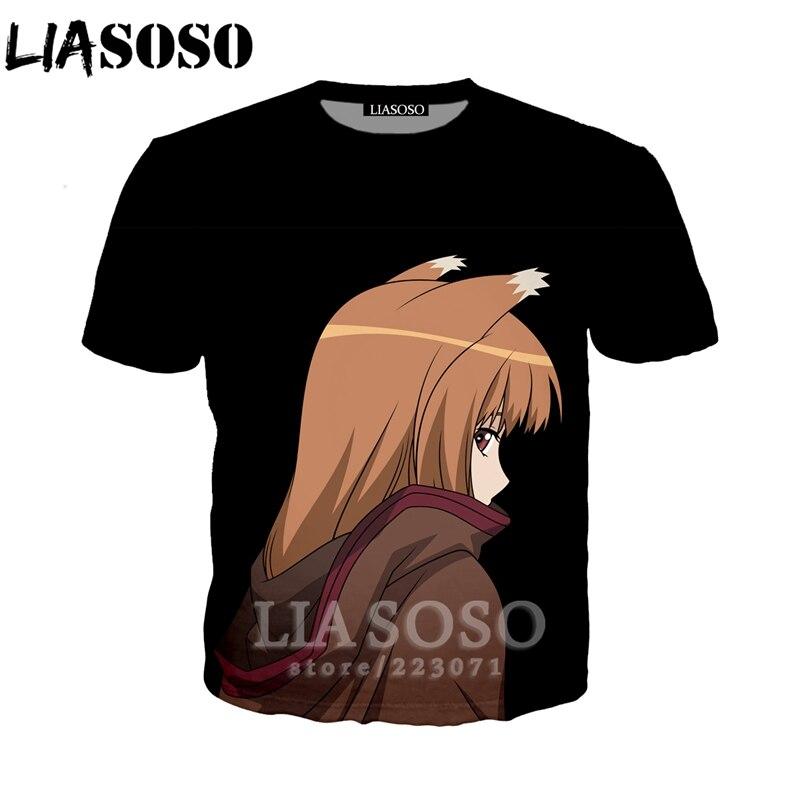 LIASOSO D'été Nouveau Hommes Femmes Mode Sweat 3D Impression Anime Spice and Wolf À Manches Courtes T-Shirt Unisexe Top Pull A190-03