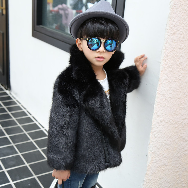 2018 Winter Little boys Fur Jackets Kids Fox Fur Coats Soft girls Faux Fur Clothes Toddler Black Fur Parkas Patchworked leather fashion girls fur coats 2017 new baby girls pu leather faux fox fur motorcycle jackets winter warm kids outerwear coats