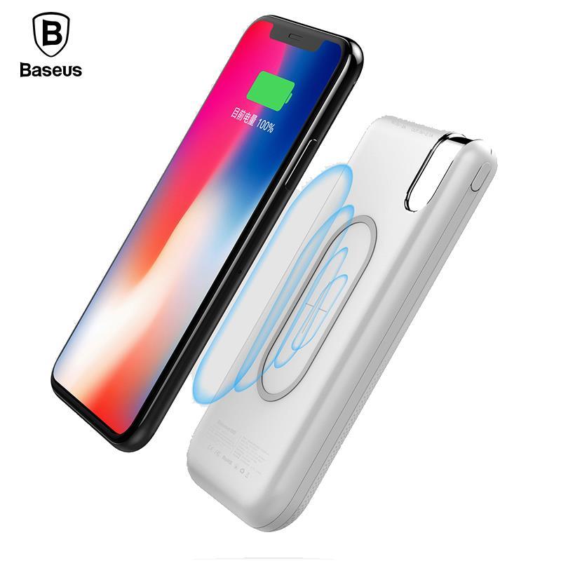 Baseus 10000 mah QI Drahtlose Ladegerät Power Bank Für iPhone X 8 Samsung S9 S8 S7 Poverbank Wirless Aufladen Power batterie Pack