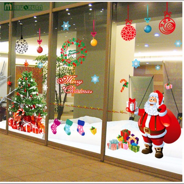 Large Santa Christmas Tree Wall Decals Diy Merry Christmas Wall ...