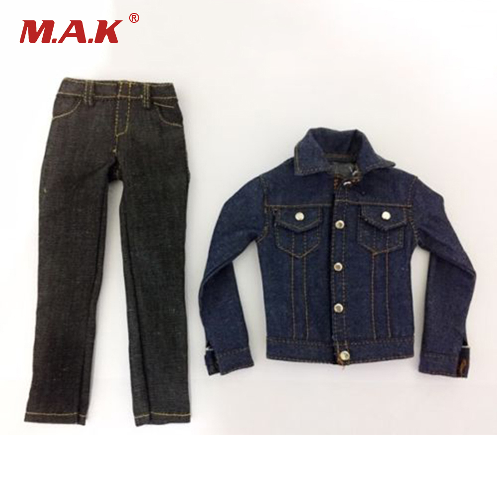 1/6 Scale Mens Denim Coat and Jeans Pants Leisure Clothes Suit Models for 12 Inches Female Bodies Figures