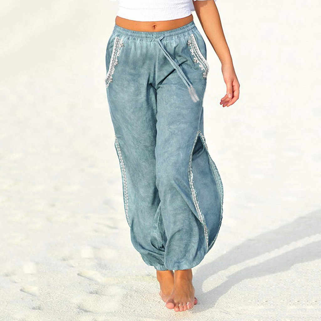 Pantalones Con Cordon Para Playa Para Mujer Pantalon Holgado Con Abertura Lateral De Pierna Ancha Informal A La Moda Para Verano G8 Pantalones Y Pantalones Capri Aliexpress