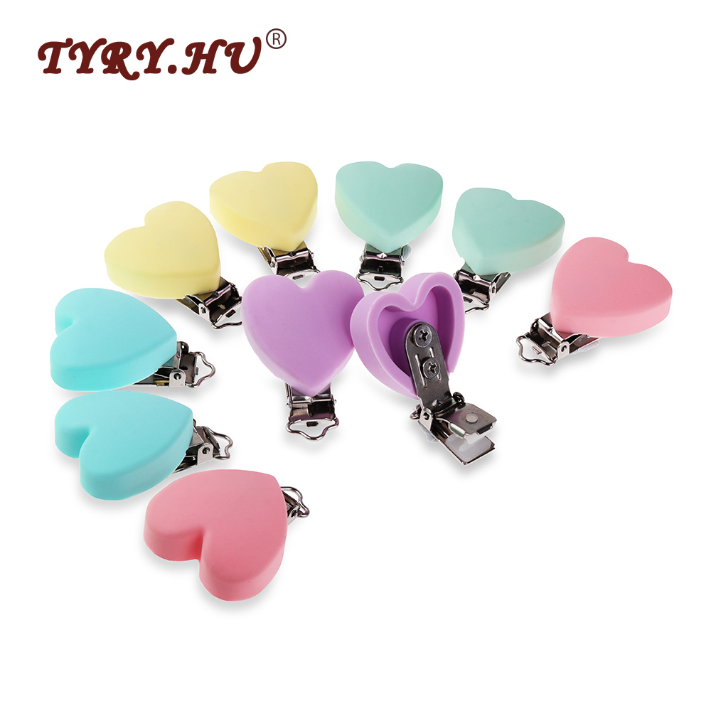 TYRY.HU 10Pcs Heart Shaped Silicone Pacifier Clips Baby Teething Nipple Holder BPA Free Nursing Baby Pacifier Chain Accessories