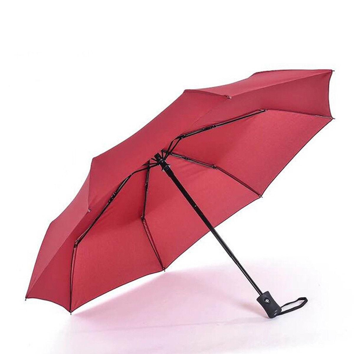 Новое поступление популярный автоматический зонт ветрозащитный мужской черный Компактный широкий автоматический открытый закрытый легкий - Цвет: Красный