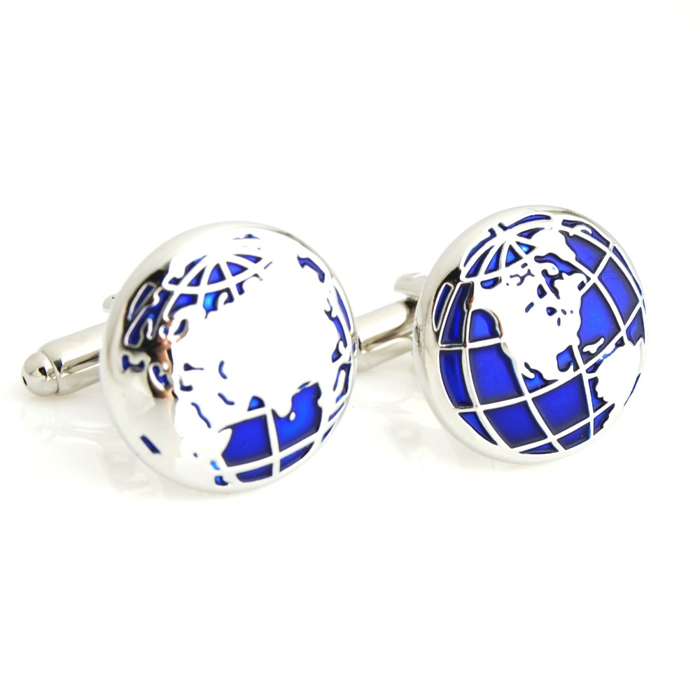 Globe Cufflinks Novelty Blue Color World Map Design French Style Fashion Jewelry Accessories Gift For Men Wholesale