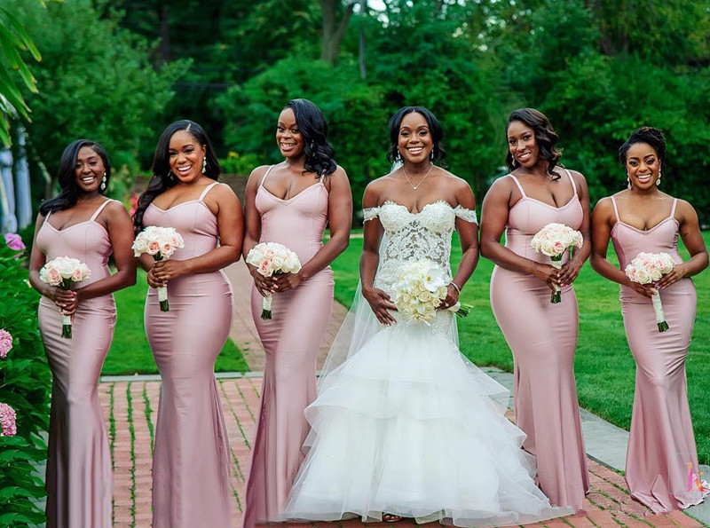 South African 2019   Bridesmaid     Dresses   For Women Mermaid Spaghetti Straps Long Cheap Under 50 Wedding Party   Dresses