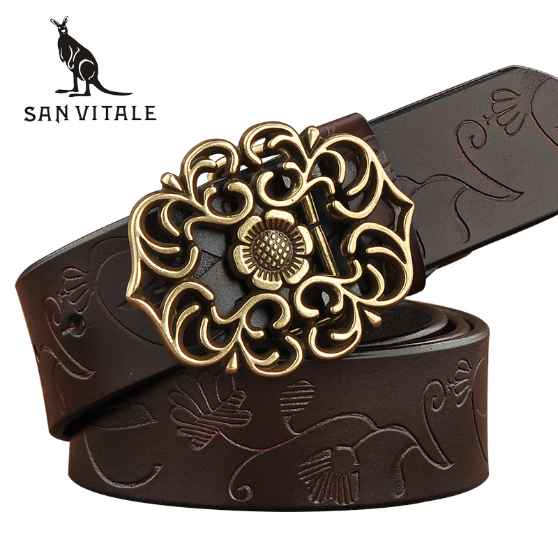 SAN VITALE New Designer Women's Belts Fashion Genuine Leather Brand Straps Female Waistband Pin Buckles Fancy Vintage for Jeans