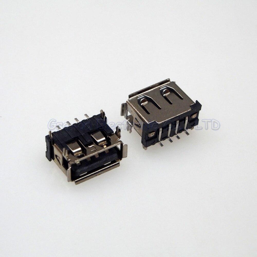 50pcs 2.0 short type USB Port USB Jack Connector 10.0mm A Female usb data port  180 degree