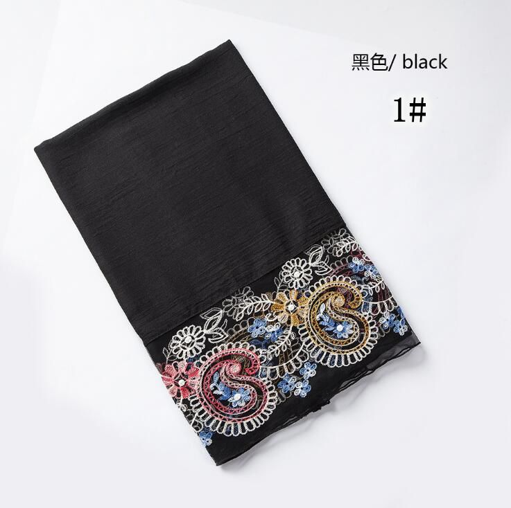 Plain Embroidery   Scarf   Cashew Nuts Lace   Scarves   Cotton Head   Scarf   Lace Muslim Hijab Shawls And   Scarves     Wrap   Shawls Women Cape