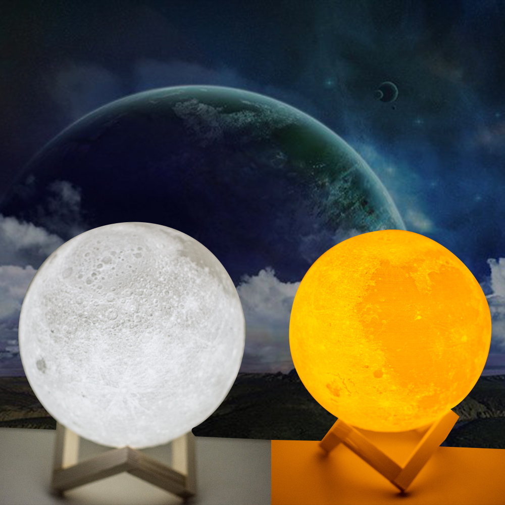 2018 New Style 18CM 3D Moon LED Night Light Moonlight Magical gift Moon Lamp with wooden magnetic Base new moon