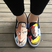 WEN Design Custom Anime One Punch Man Hand Painted Shoes Slip on Canvas Sneakers for Men Women's Unique Presents