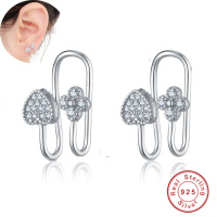 Real 925 Silver Ear Cuff Clip On Earrings For Women Star Moon Heart Fashion Jewelry