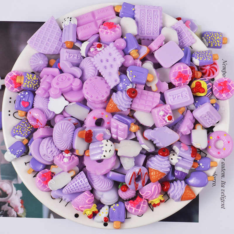 10PCS DIY Slime Charms With Candy Sugar Chocolate Cake Resin Flatback of Slime Beads for Ornament Scrapbook Crafts Toy Gift