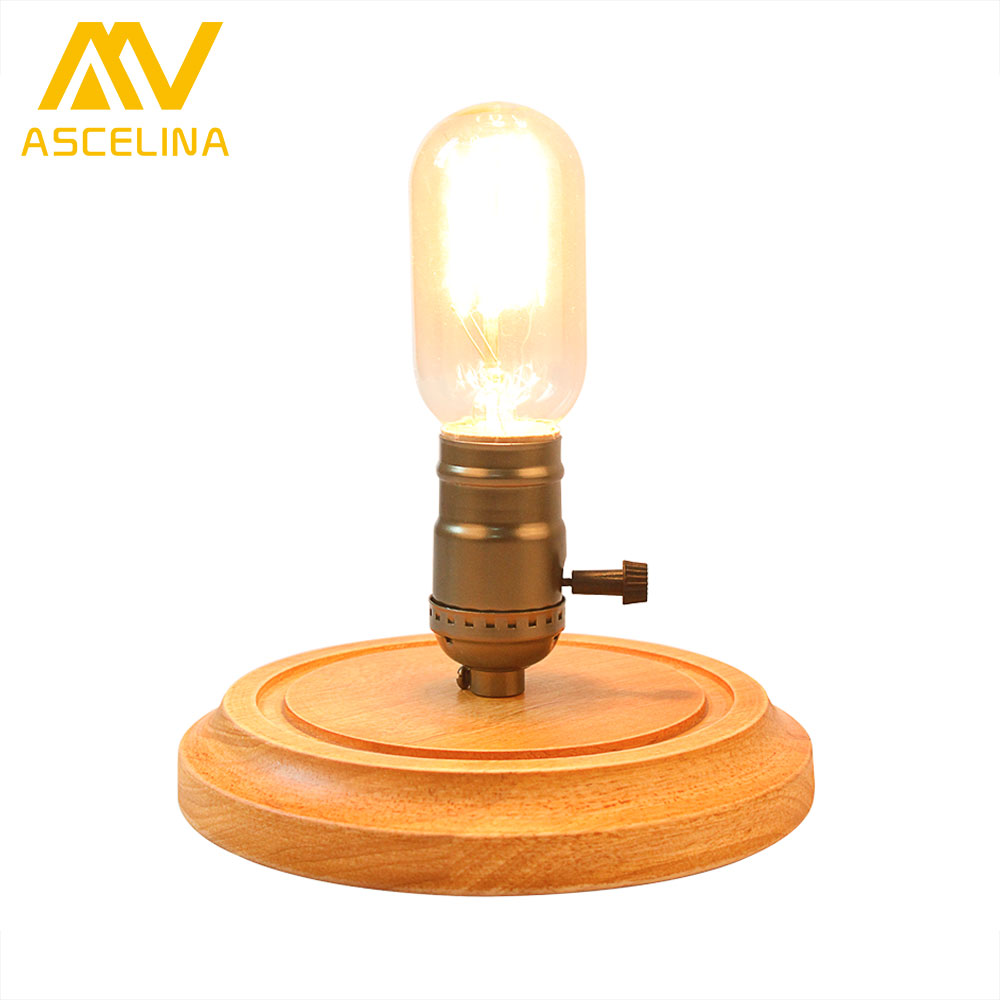 Antique bedroom lamps - Led Wooden Table Lamp Ascelina American Antique Retro Loft Desk Lamps Dimmable Night Light Office Lamp