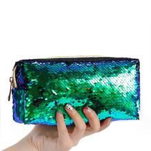 New 2019 Laser Cosmetic Bag Travel Mermaid Scales Makeup Beautiful Beauty Zipper Toiletry Make Up Case Bath Kit Organizer