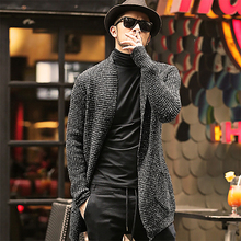 Jersey para hombre, cárdigan de manga larga, rebeca con tiras, ropa de moda, suéter de Mohair grueso y cálido para hombre, estilo inglés, gran oferta J511