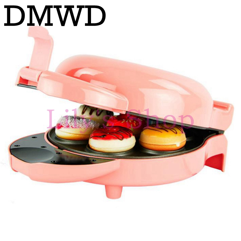 DMWD MINI household automatic Donut baking Machine electric non-stick Cake doughnut Makers Breakfast making pancake machine EU dmwd mini household bread maker electrical toaster cake cooker 2 slices pieces automatic breakfast toasting baking machine eu us