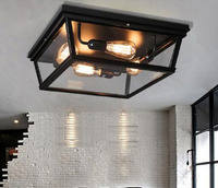 American countryside vintage iron square loft ceiling lamp for dining room aisle  bedroom creative ceiling lights E27 bulbs A007
