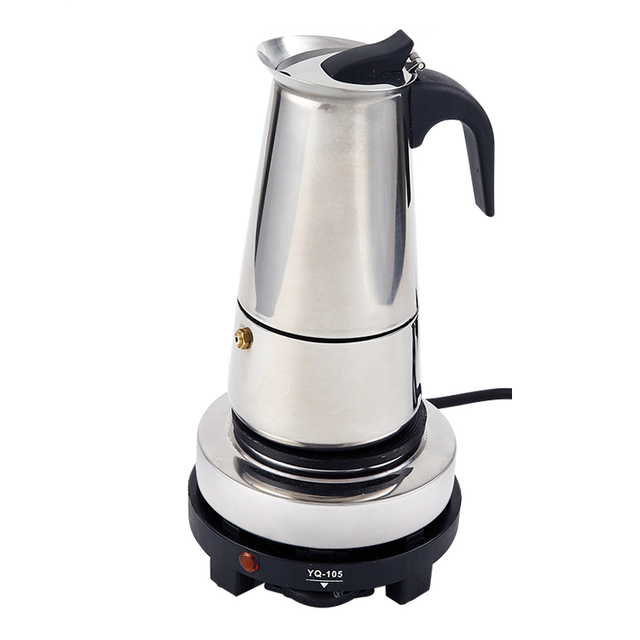 2 Cup 100ml Stainless Steel Electric Moka Pot Espresso Maker Latte Percolator Italian Coffee
