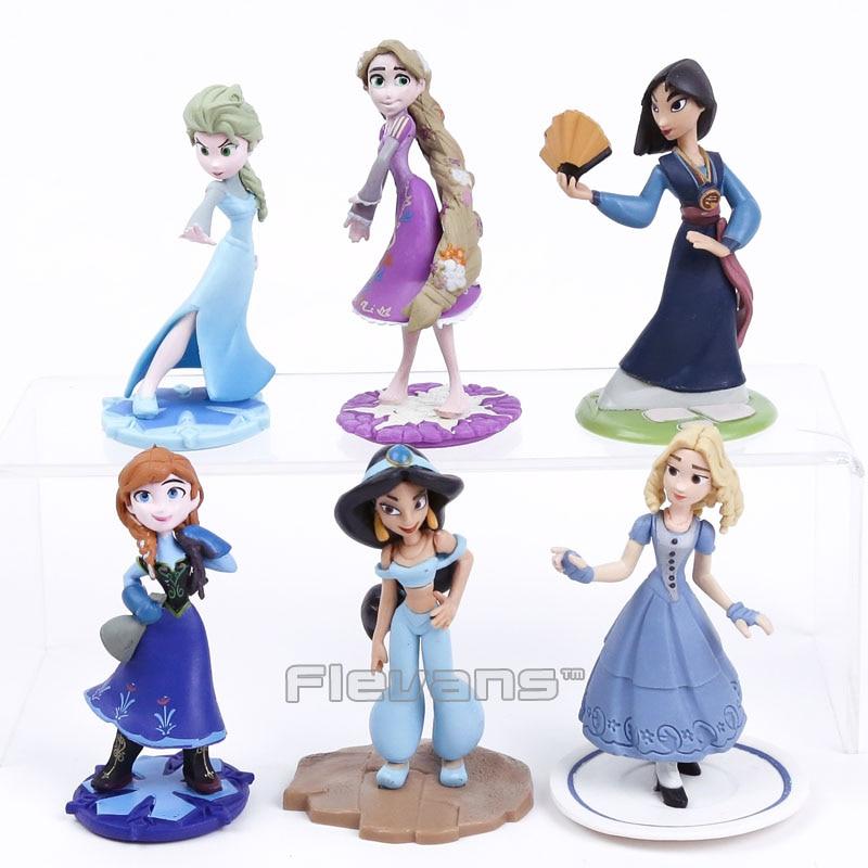 Queen Elsa Princess Anna Mulan Jasmine Rapunzel PVC Figures Dolls Girls Toys Gifts 6pcs/set 10cm термокружка mulan 1222217