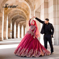 New Arrival Wedding Dresses Turkey Women Lace Gelinlik 2017 Ball Gown Gold Lace Applique Bridal Gown Red Muslim Wedding Dress