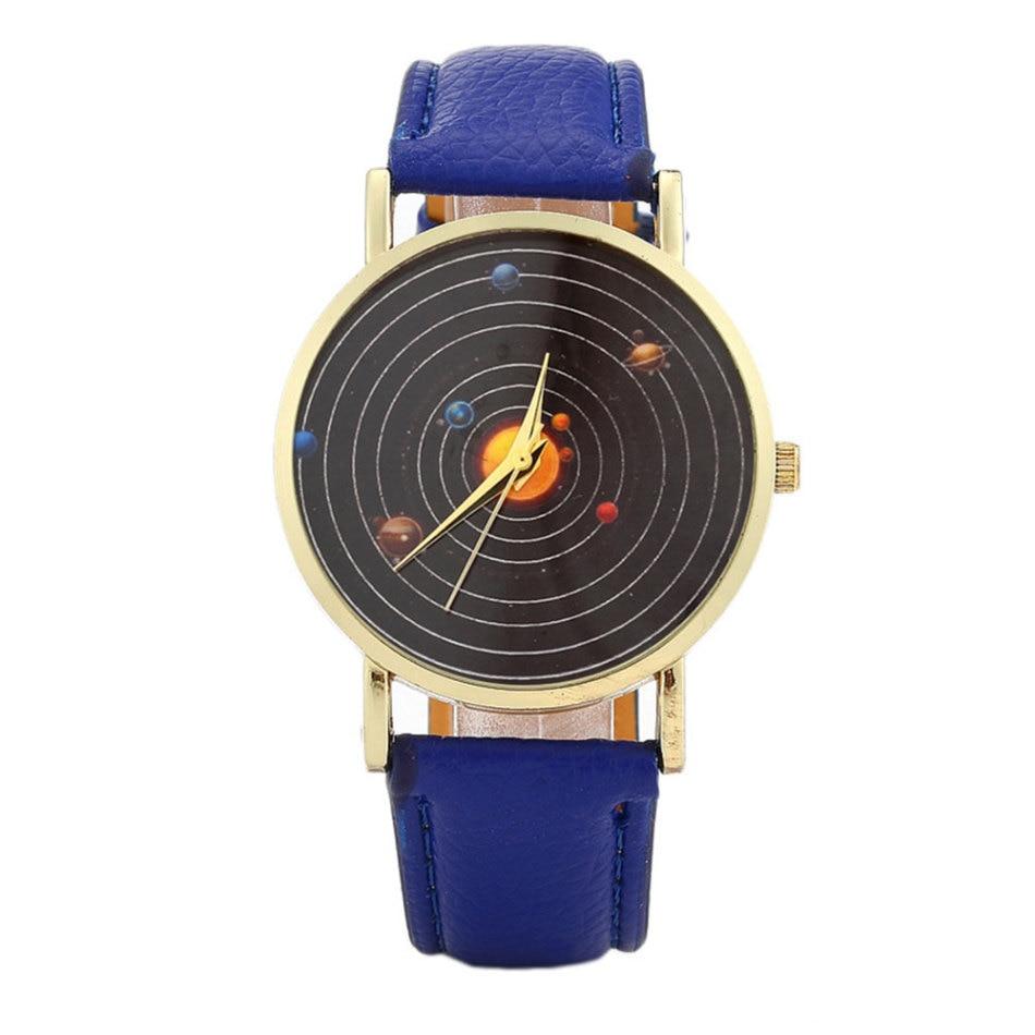 Ladies Quartz Watch Space Astronomical Planet Quartz Watch Fashion Casual Round Leather Watch Clock Gift