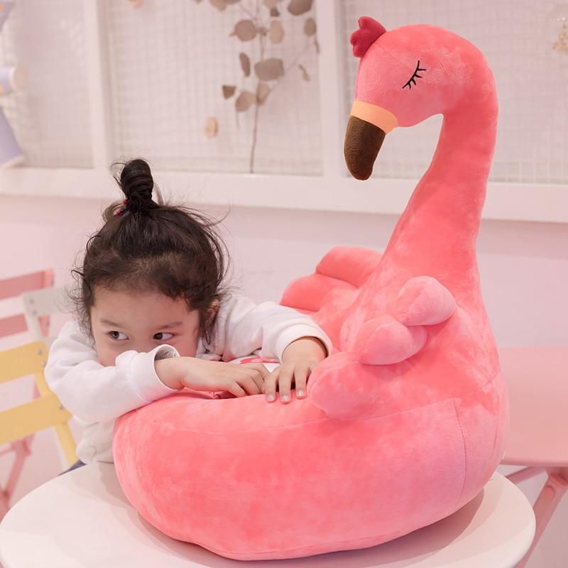 1pc 60cm dessin animé mignon enfants canapé chaise en peluche siège bébé nid sommeil lit adulte oreiller en peluche cygne Flamingo paon jouets en peluche - 3