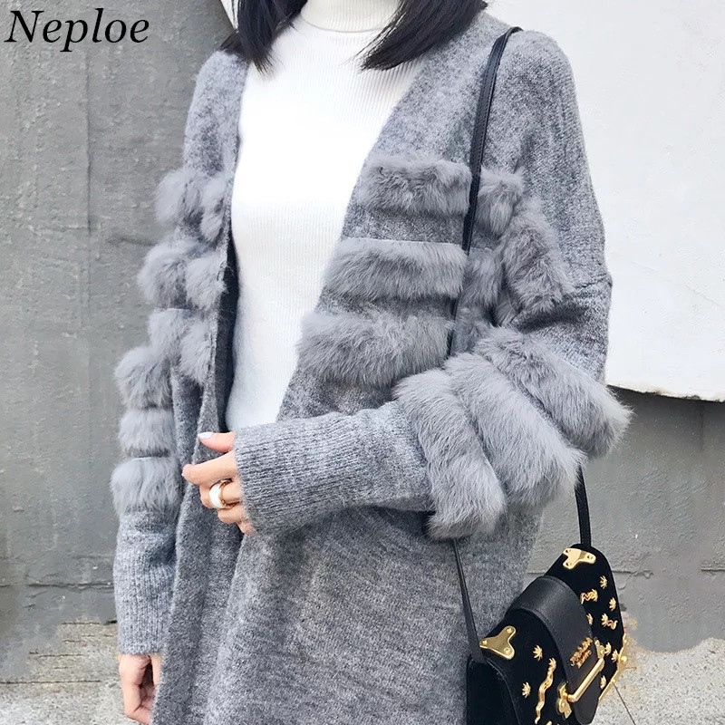 Women's Clothing Responsible Neploe Faux Fur Patchwork Solid Knitted Cardigan Pockets Female Open Stich 2019 Autumn Fashion Casual Loose Women Sweater 69079
