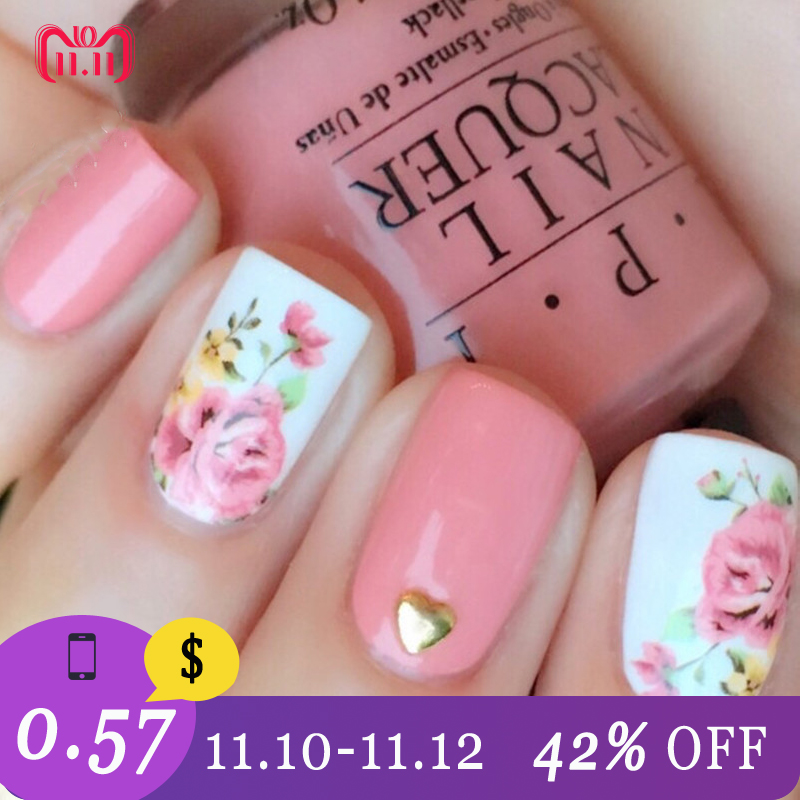 Hot Sale Born Pretty Pink Rose Flower Nail Stikcer Flamingo Water