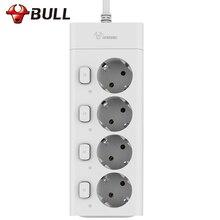 Bull 10A 2500 Вт 3 м удлинитель мощность полосы удлинитель отдельных коммутируемых ЕС Plug мощность полосы электрическая розетка ЕС Plug