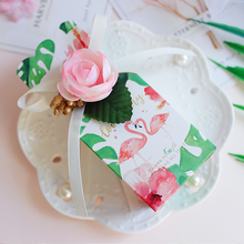 50pcs/lot Flamingo candy box Romantic wedding flower gift box baby shower boy Girl favor boxes packaging bag Party Supplies metable 100pcs lot romantic double heart candy boxes festival wedding casamento xmas gift packaging box 5 5 5cm wc161s