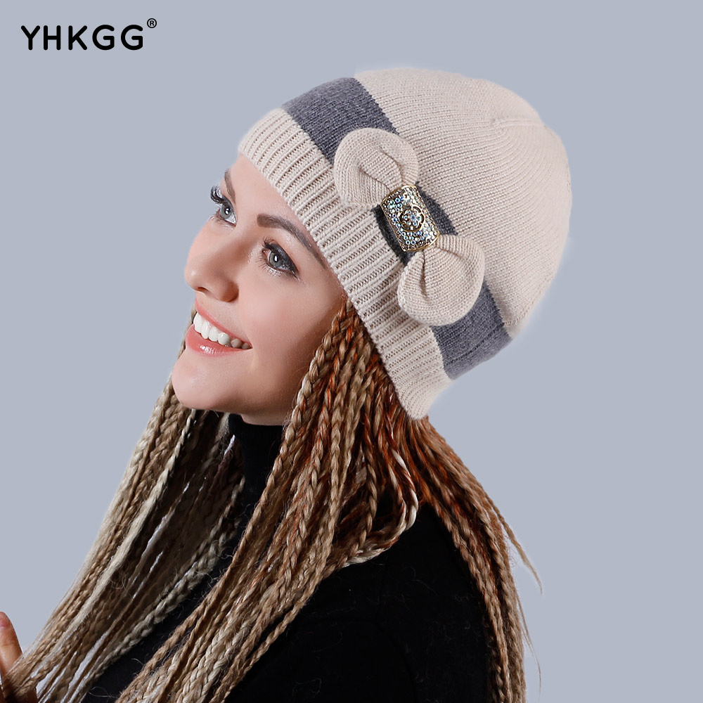 YHKGG Skullies Striped Cap With Bow-knot 2017 Women's Brand Casual Winter Beanie Cap Knitted Caps Knitted Warm Hats GorrosH002B- skullies