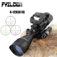 4 12X50 Illuminated Rangefinder Reticle Rifle Scope Holographic 4 Reticle Sight 11mm and 20mm Red Dot Laser Combo Riflescope