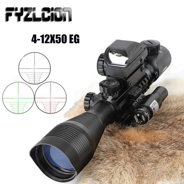 4-12X50 Tactical airgun Scope Sight scope mount with Holographic 4 Reticle Red / Green Laser Light Hunting Trail Riflescope