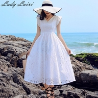 White Embroidered Cotton Mid calf Dresses Women Summer Hollow Out Slim A Line Lace Dress Female Casual V Neck Runway dress