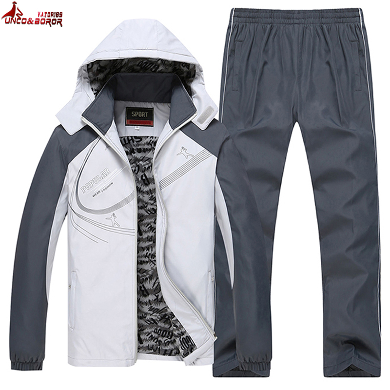 UNCO&BOROR Size L~5XL 6XL Winter Jacket Men Sportsuit Sportwear Men Tracksuit Sweatshirt Hood Men Set Parka Coat Brand Clothing