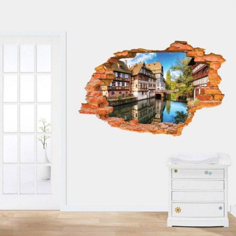 Приморский село 3D Вид из окна стены Стикеры Домашний Декор Средиземноморский Пейзаж Съемный Наклейка для Гостиная