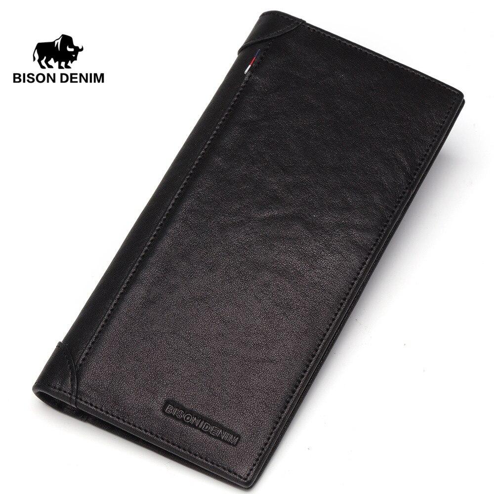 BISON DENIM Wallet Genuine Leather Purse for Men Cow Leather Long Card Holder Wallet carteira masculina Portomonee N4456-1