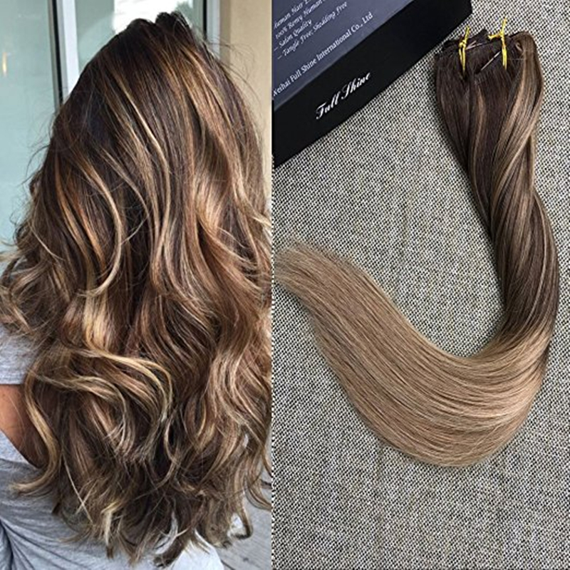Full Shine Biscuit Balayage Blonde Highlighted Extensions