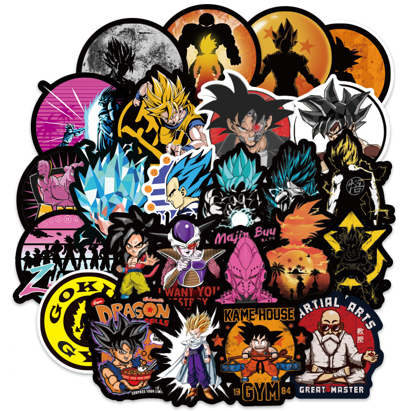 100PCS Anime Dragon Ball Stickers Super Saiyan Goku Stickers Decal For Snowboard Luggage Car Fridge Laptop Cool Sticker F1