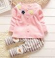 Девочка одежда 2015 весна мода новорожденного девушки одежду комплект для новорожденных девочка с длинным рукавом одежды 7 м - 2 т