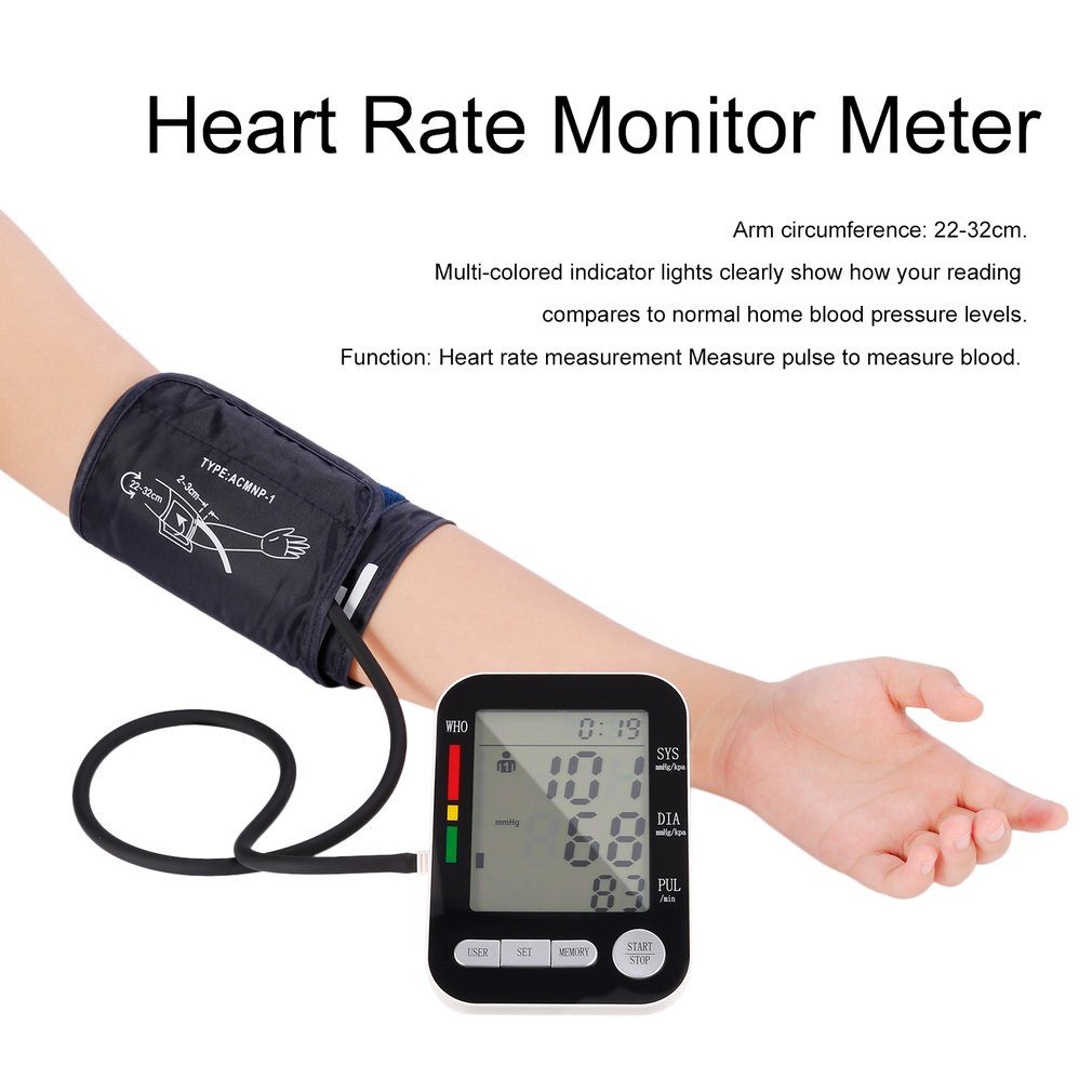 Home Health Care LCD Digital Upper Arm Blood Pressure Monitor USB Rechargeable Sphygmomanometer Heart Rate Automatic