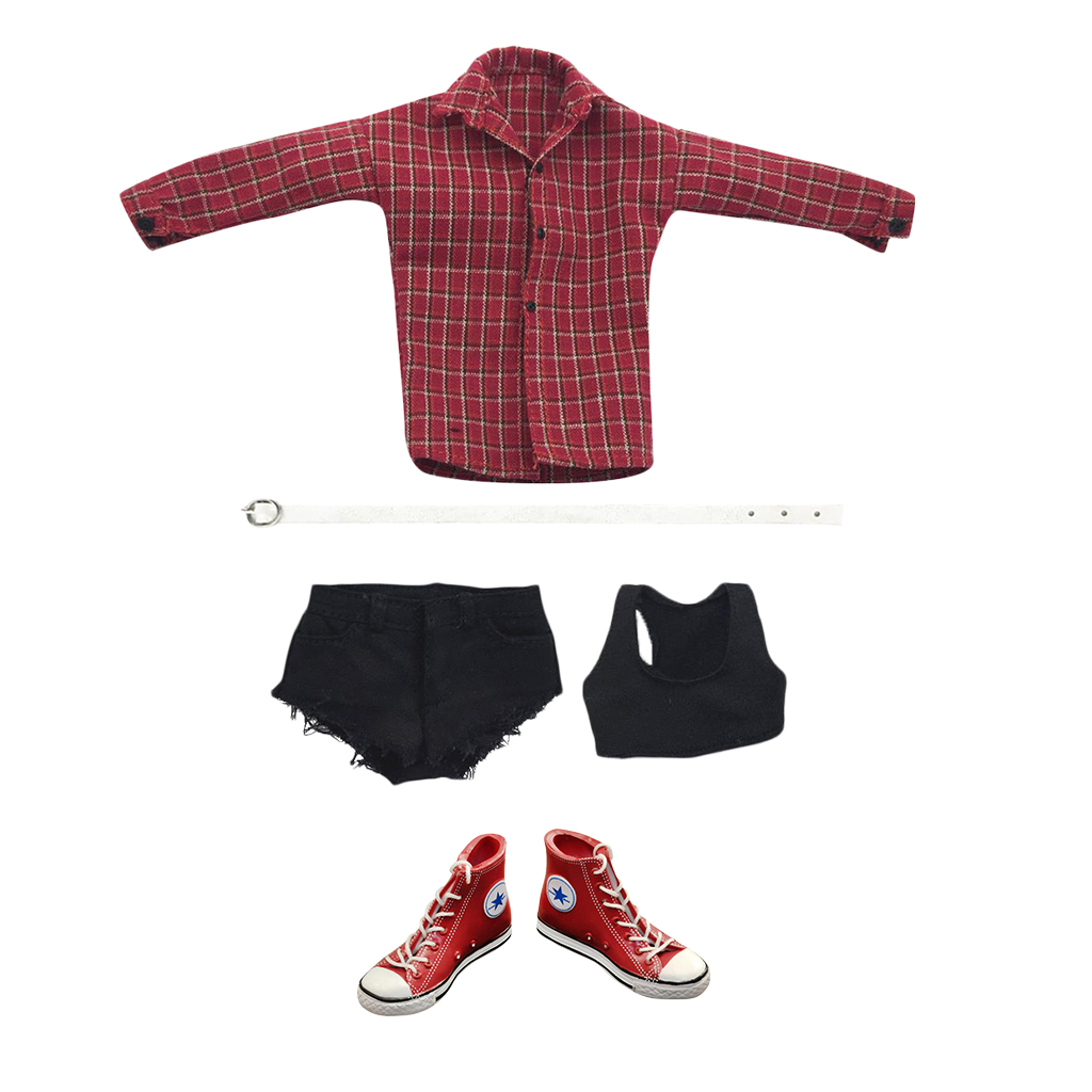 1/6 Female Body Long Sleeve Shirts Short Pants+Male Lace Up Sneakers High Top Shoes cropped wide sleeve top