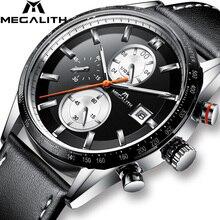 MEGALITH الموضة رجل كوارتز ساعة اليد مقاوم للماء الرياضة كرونوغراب جلد رجالي ساعات العلامة التجارية الفاخرة ساعة للذكور على مدار الساعة